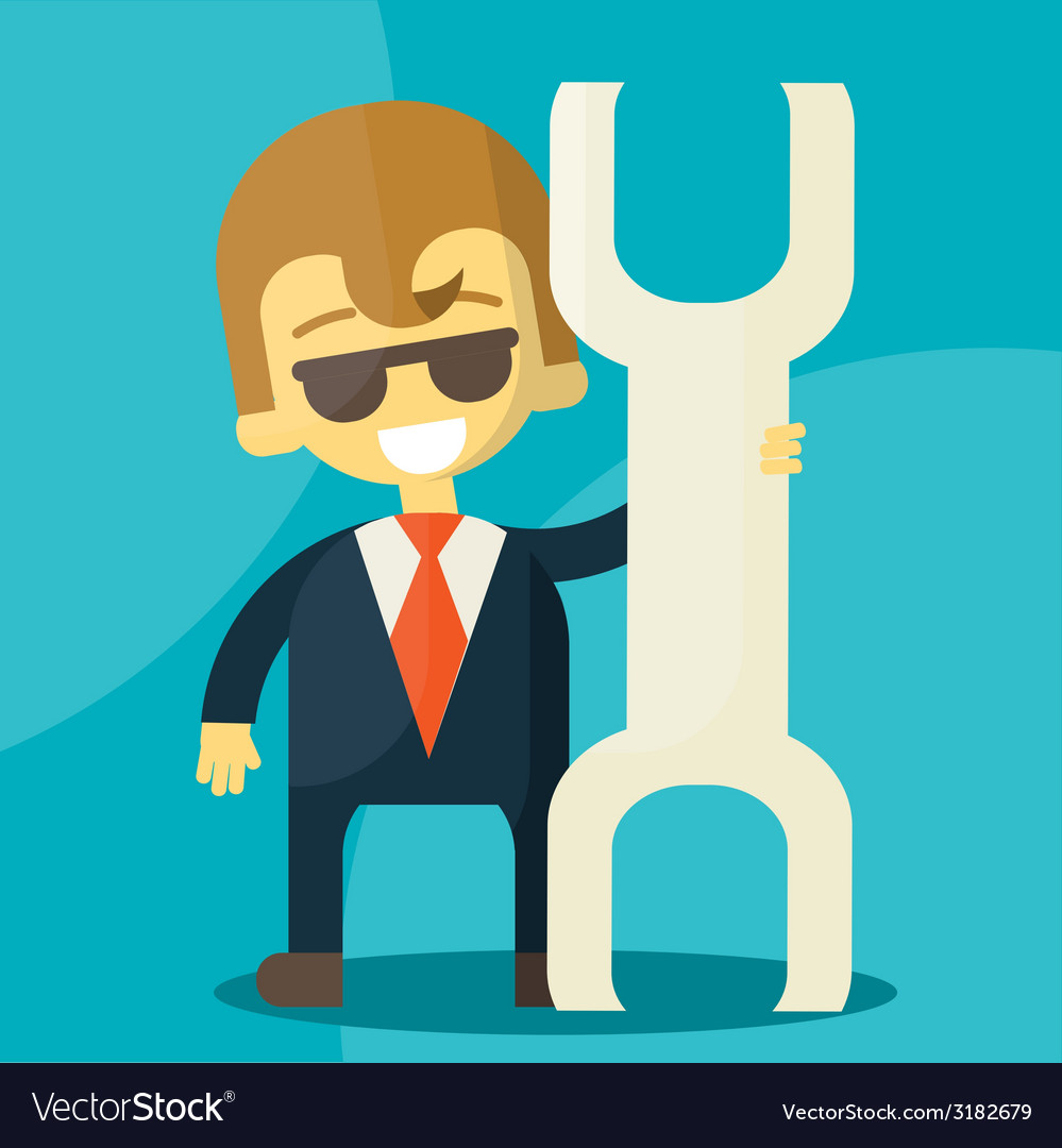 Smiling cartoon businessman with a huge wrench in vector | Price: 1 Credit (USD $1)