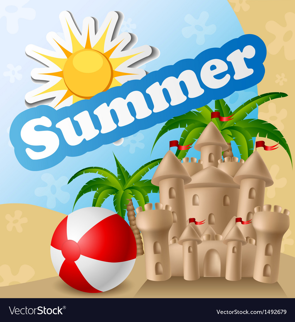 Summer card with sandcastle and ball vector | Price: 1 Credit (USD $1)