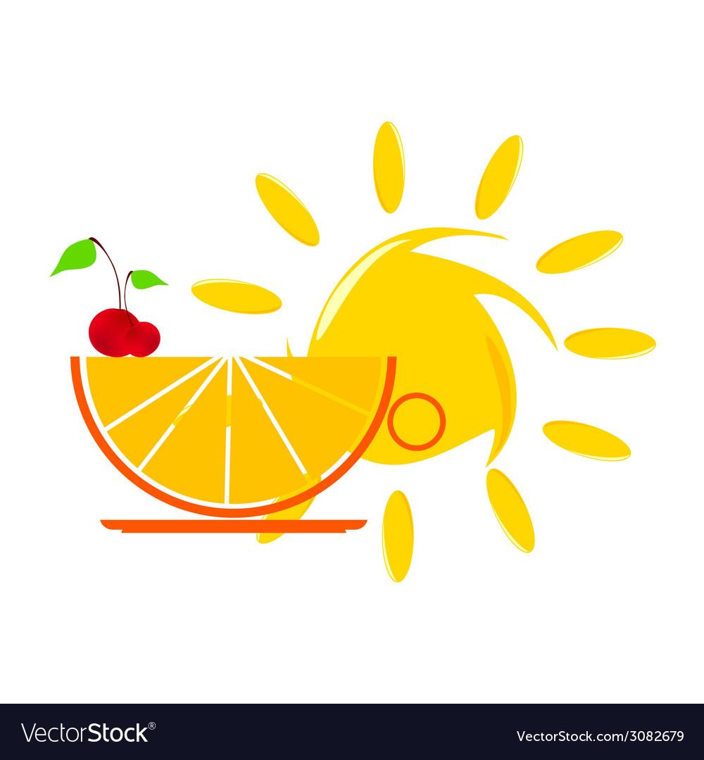 Sun and orange and cherry vector | Price: 1 Credit (USD $1)
