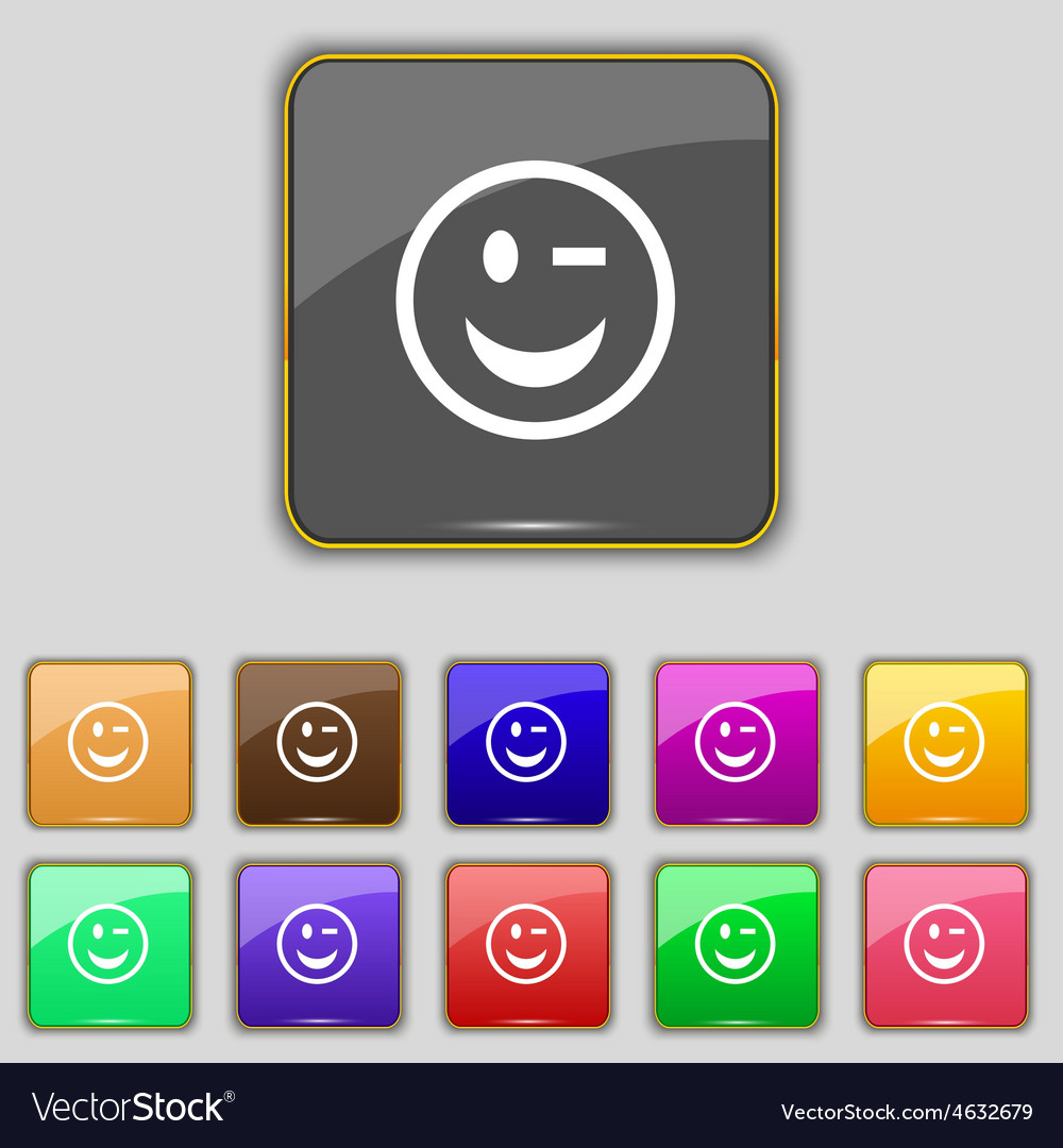 Winking face icon sign set with eleven colored vector | Price: 1 Credit (USD $1)