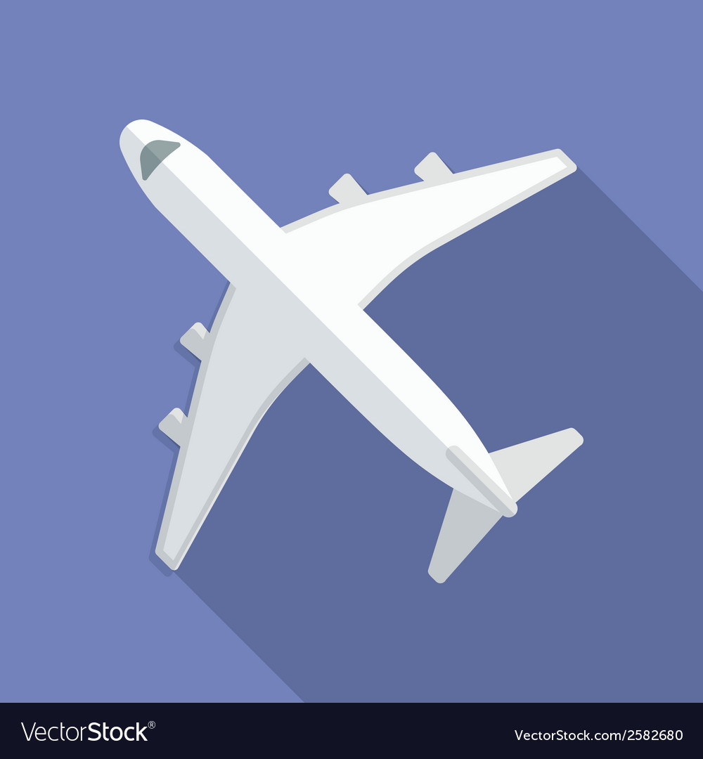 Airplane icon modern flat style with a long shadow vector | Price: 1 Credit (USD $1)