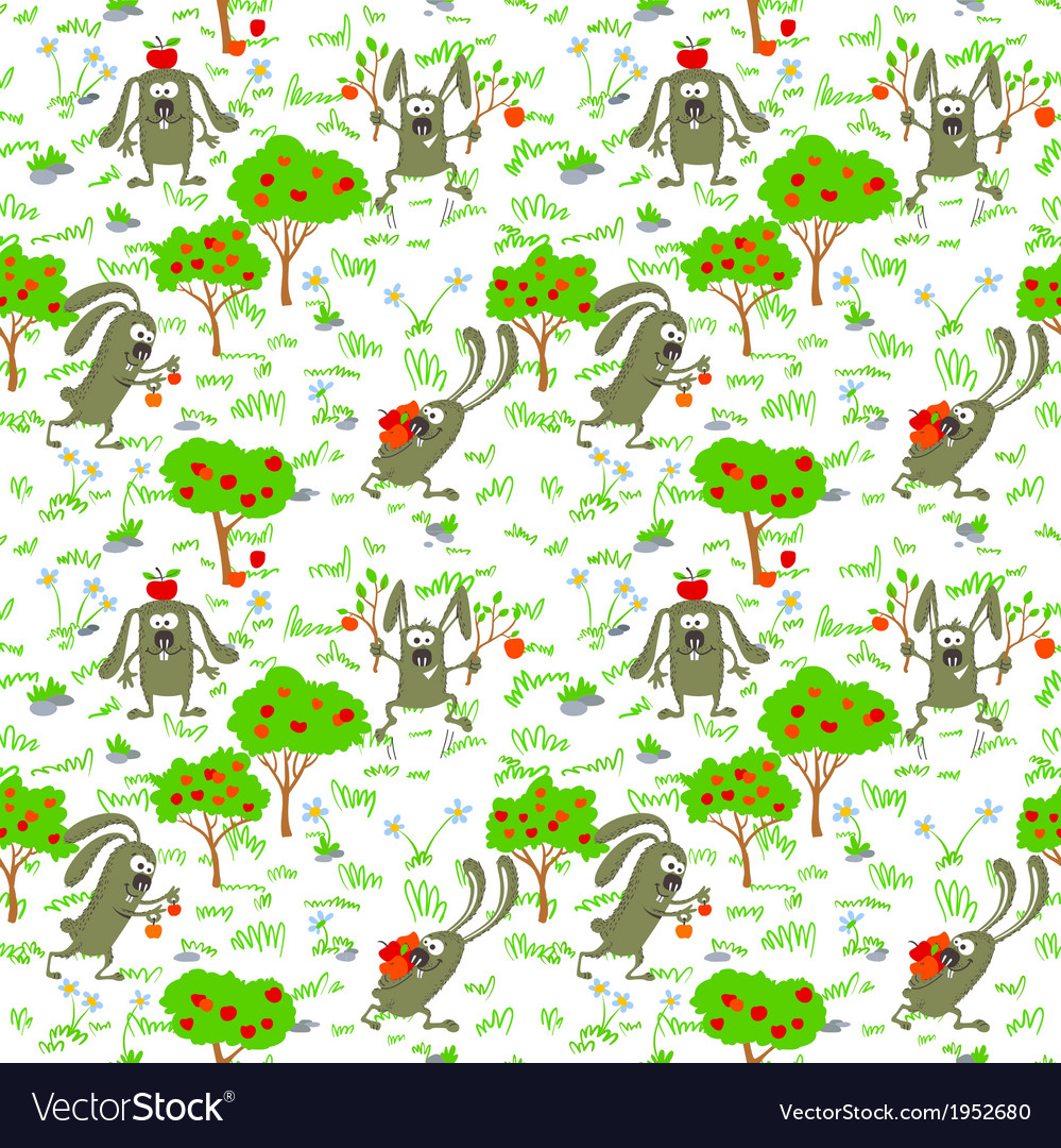 Bunnies and apples vector | Price: 1 Credit (USD $1)