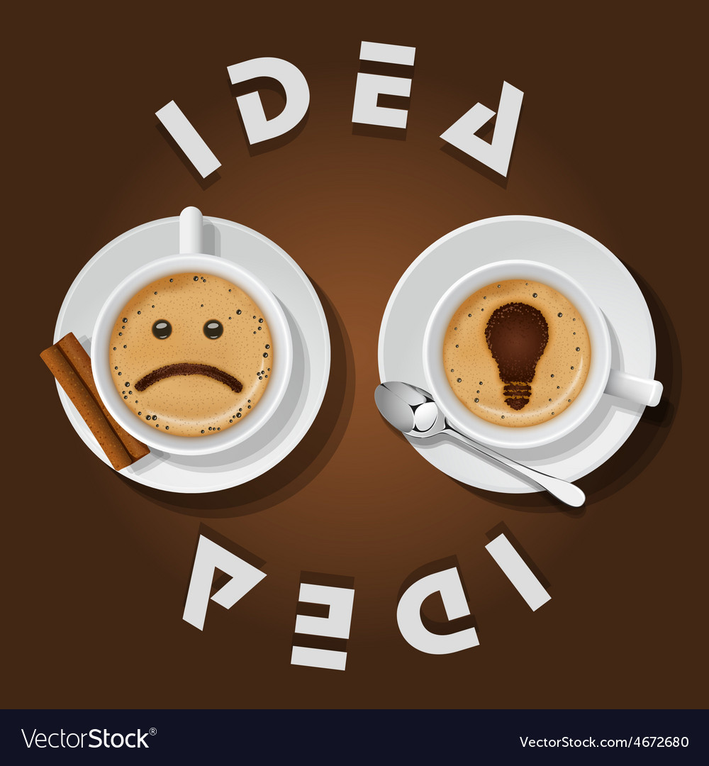Cappuccino cup with words idea vector | Price: 1 Credit (USD $1)