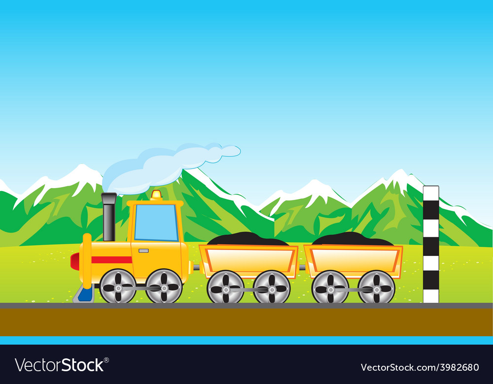 Cargo locomotive in mountain vector | Price: 1 Credit (USD $1)
