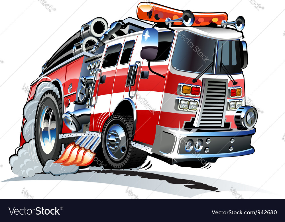 Cartoon firetruck vector | Price: 5 Credit (USD $5)