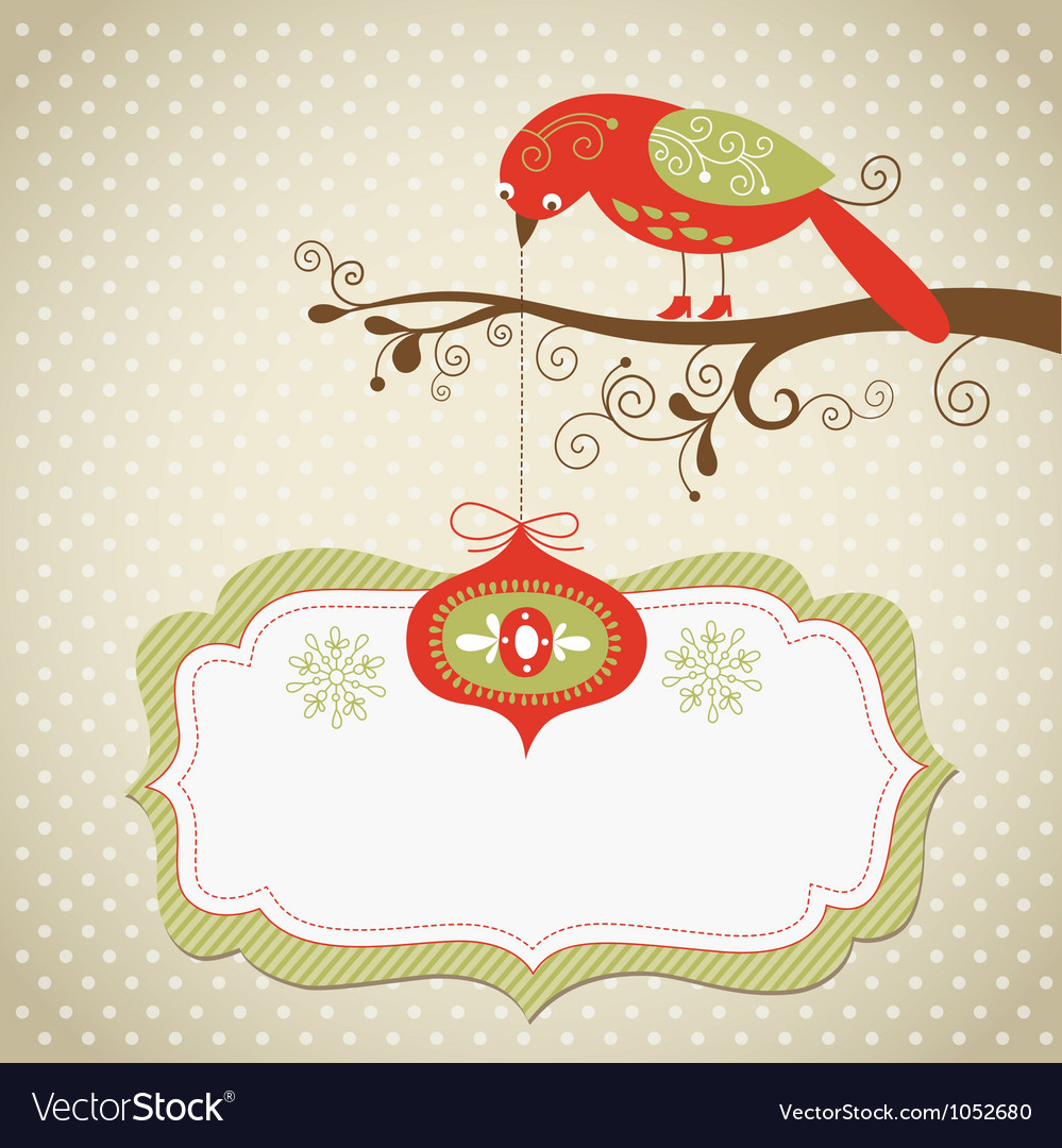 Christmas card with cute bird and hanging toy vector | Price: 3 Credit (USD $3)