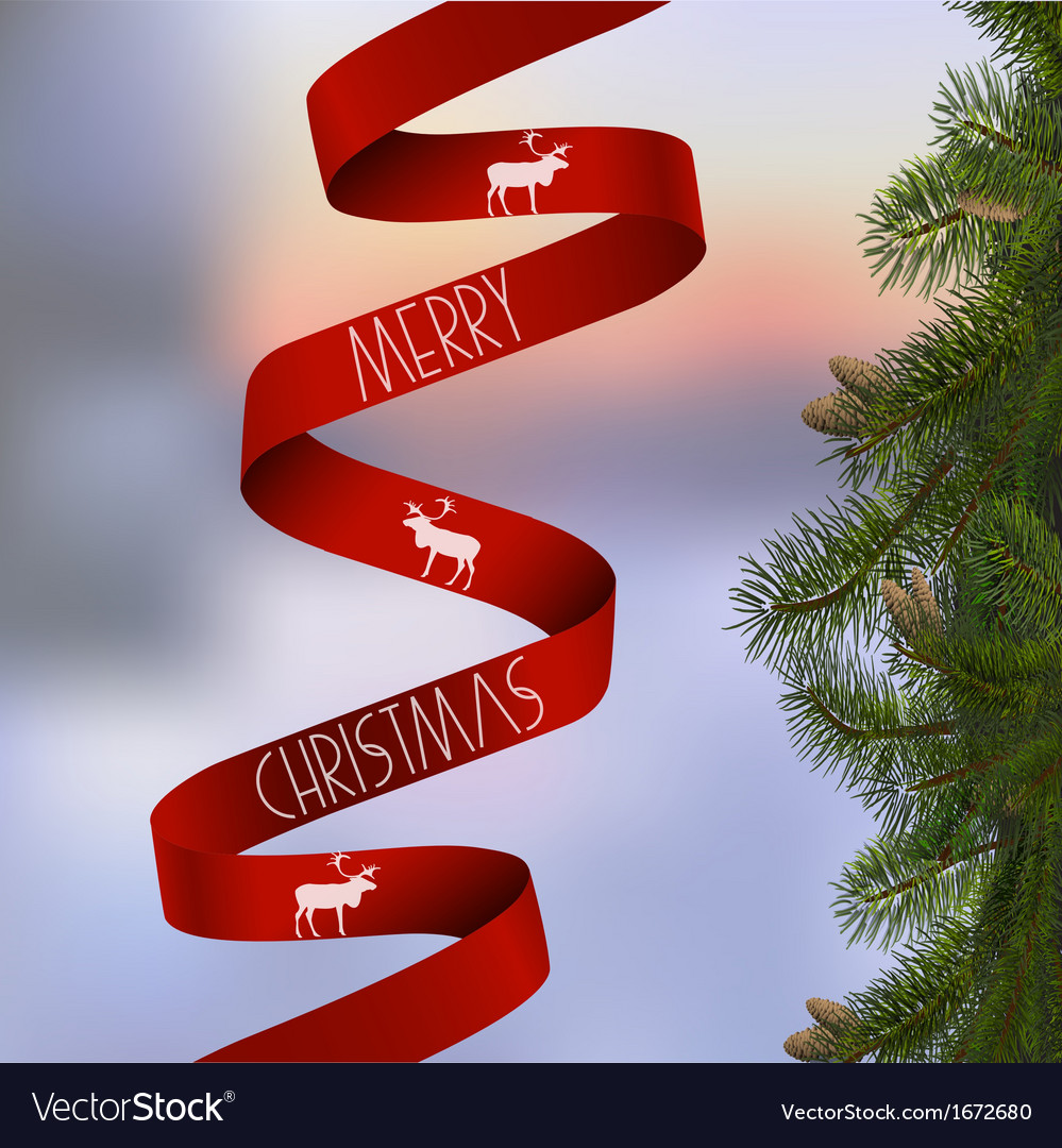 Christmas card with with fir branches and red vector   Price: 1 Credit (USD $1)