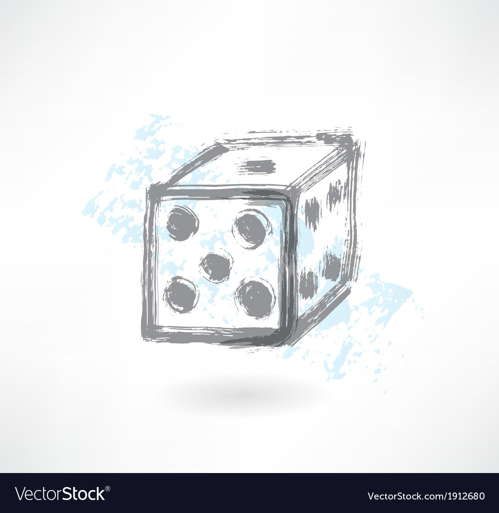 Dice grunge icon vector | Price: 1 Credit (USD $1)