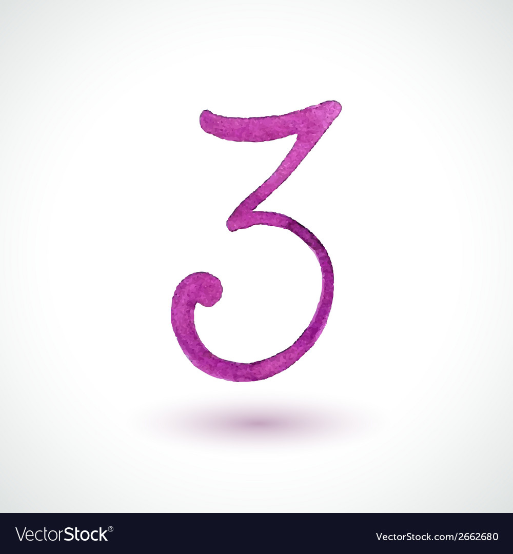 Number 3 painted with watercolor and brush on vector | Price: 1 Credit (USD $1)