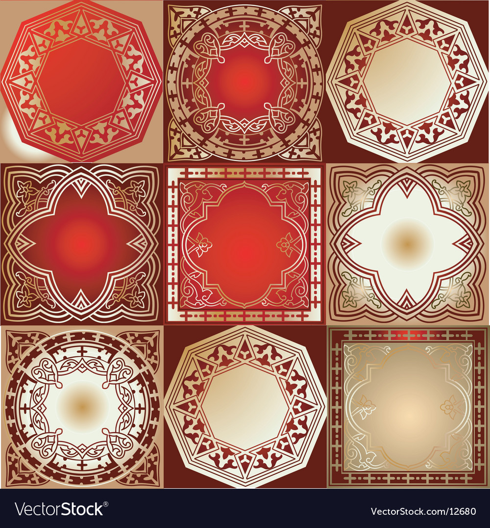 Red gold various quad ornament vector | Price: 3 Credit (USD $3)