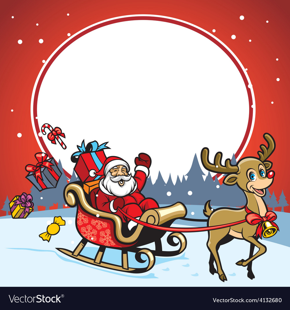 Santa and the deer greeting christmas vector | Price: 3 Credit (USD $3)