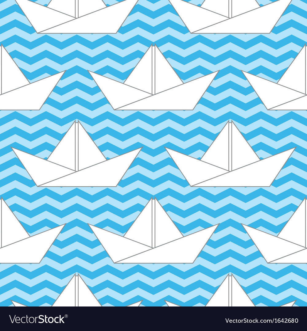 Seamless background with paper boats on the waves vector | Price: 1 Credit (USD $1)