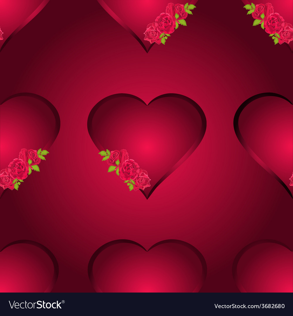 Seamless texture hearts with three roses vector | Price: 1 Credit (USD $1)