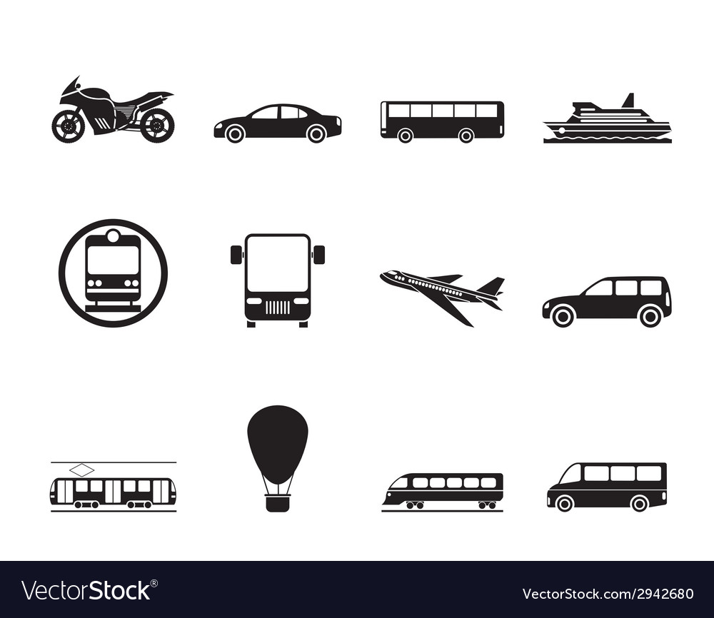Silhouette travel and transportation of people vector | Price: 1 Credit (USD $1)