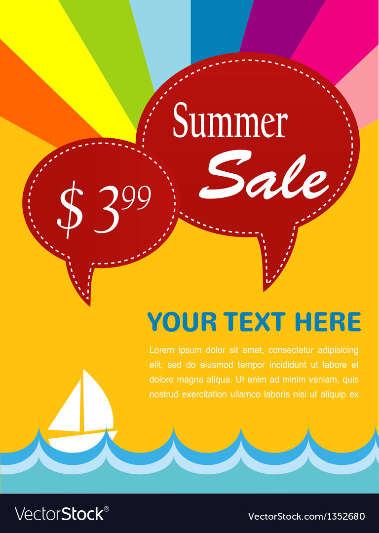 Summer sale yacht and sea with pice tags vector | Price: 1 Credit (USD $1)