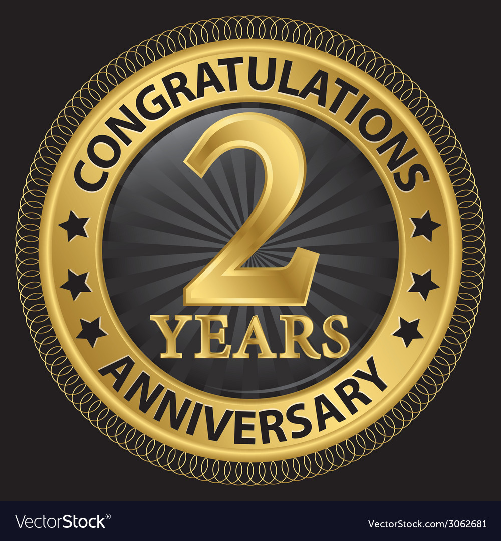 2 years anniversary congratulations gold label vector | Price: 1 Credit (USD $1)