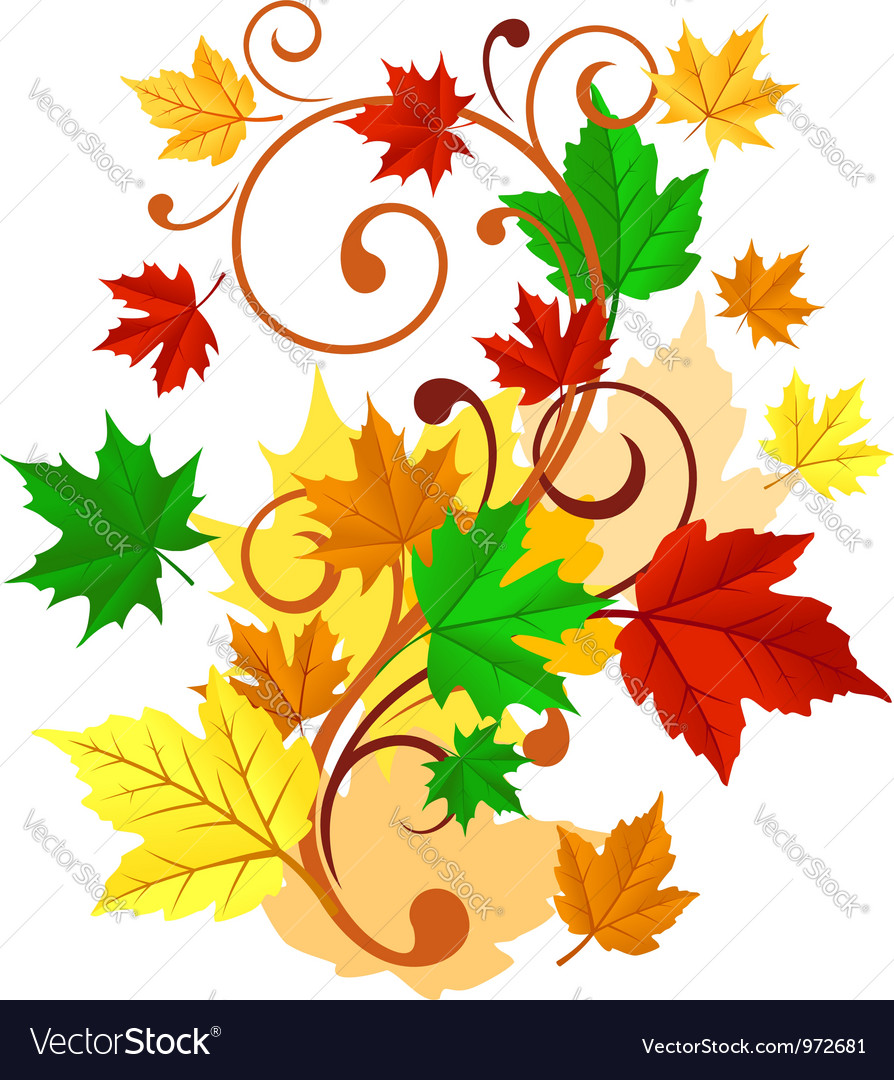 Autumnal background with colorful leaves vector | Price: 1 Credit (USD $1)