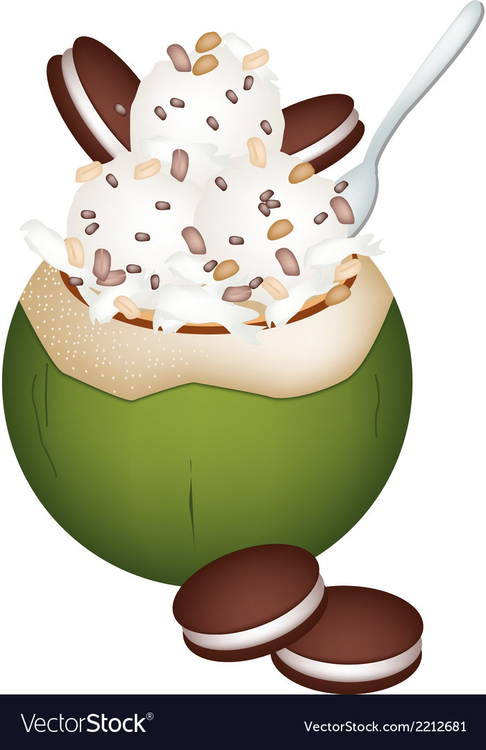 Coconut ice cream with nuts and cookie vector | Price: 1 Credit (USD $1)