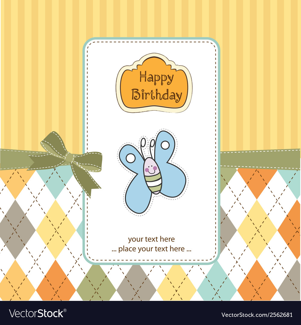 Cute baby shower card with butterfly vector | Price: 1 Credit (USD $1)