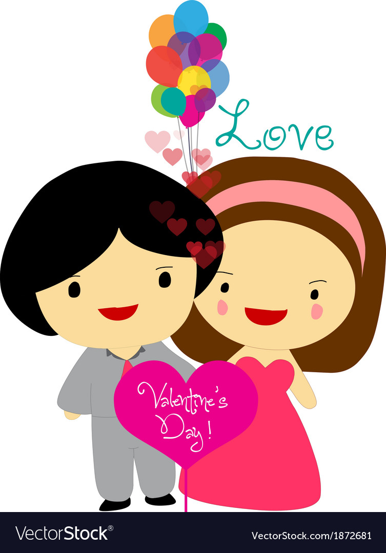 Happy valentines couple sweet love vector | Price: 1 Credit (USD $1)