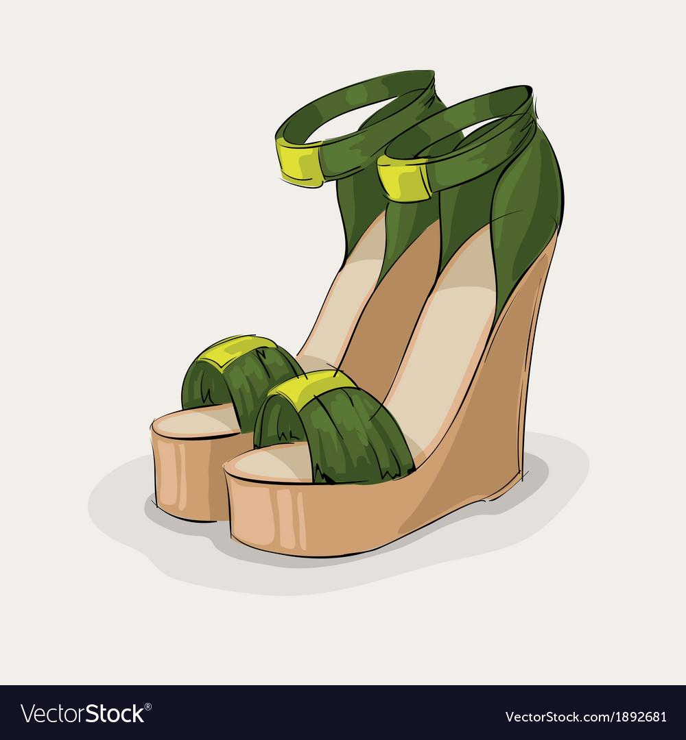 Luxury green sandals vector   Price: 1 Credit (USD $1)