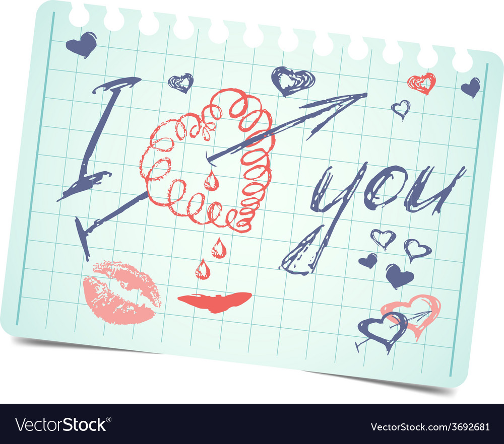 Note with text and hearts i love you valentines vector | Price: 1 Credit (USD $1)