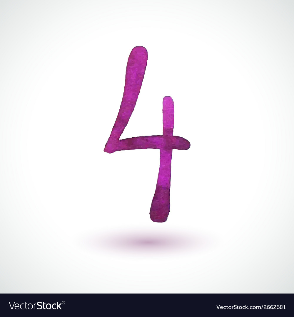 Number 4 painted with watercolor and brush on vector | Price: 1 Credit (USD $1)