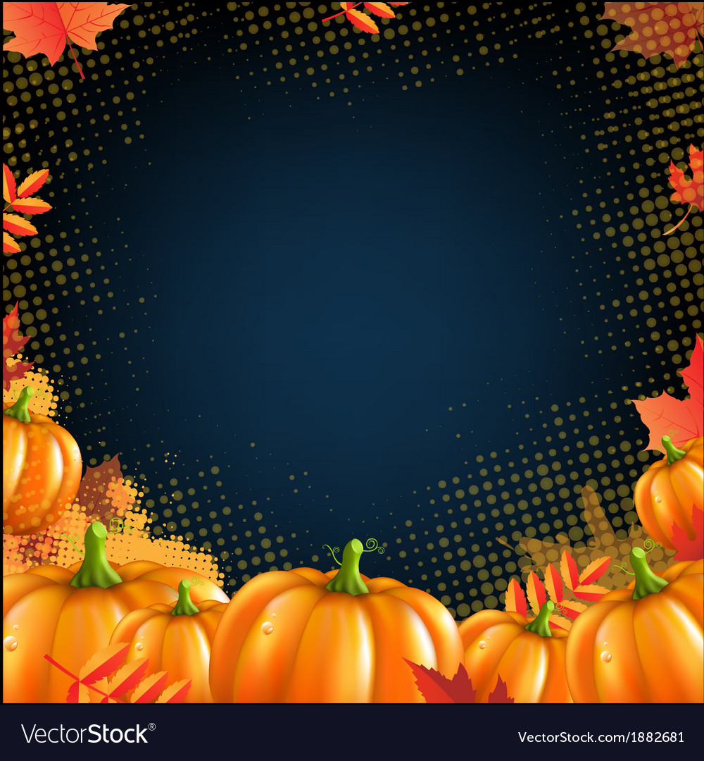 Orange autumn pumpkins frame vector | Price: 1 Credit (USD $1)