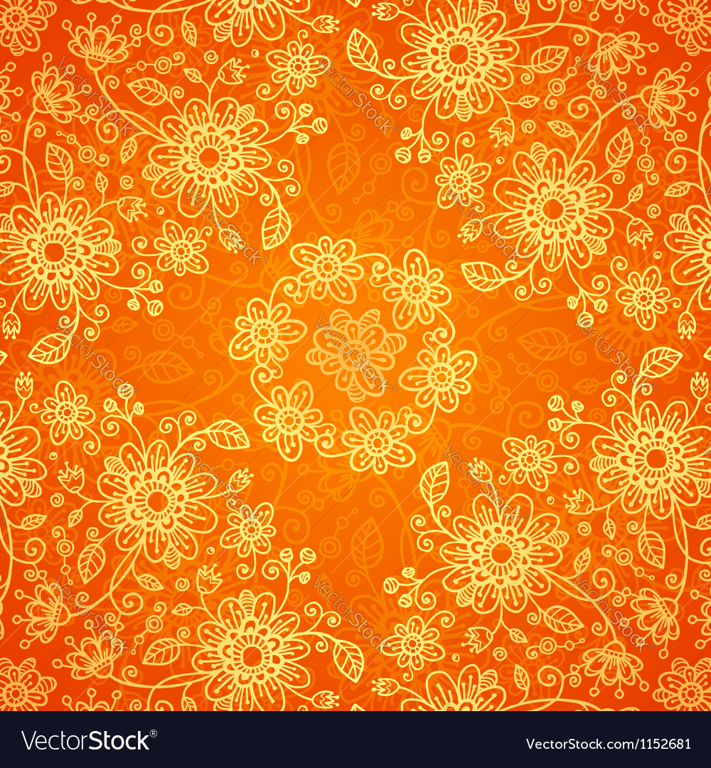 Orange doodle flowers ornate seamless pattern vector | Price: 1 Credit (USD $1)