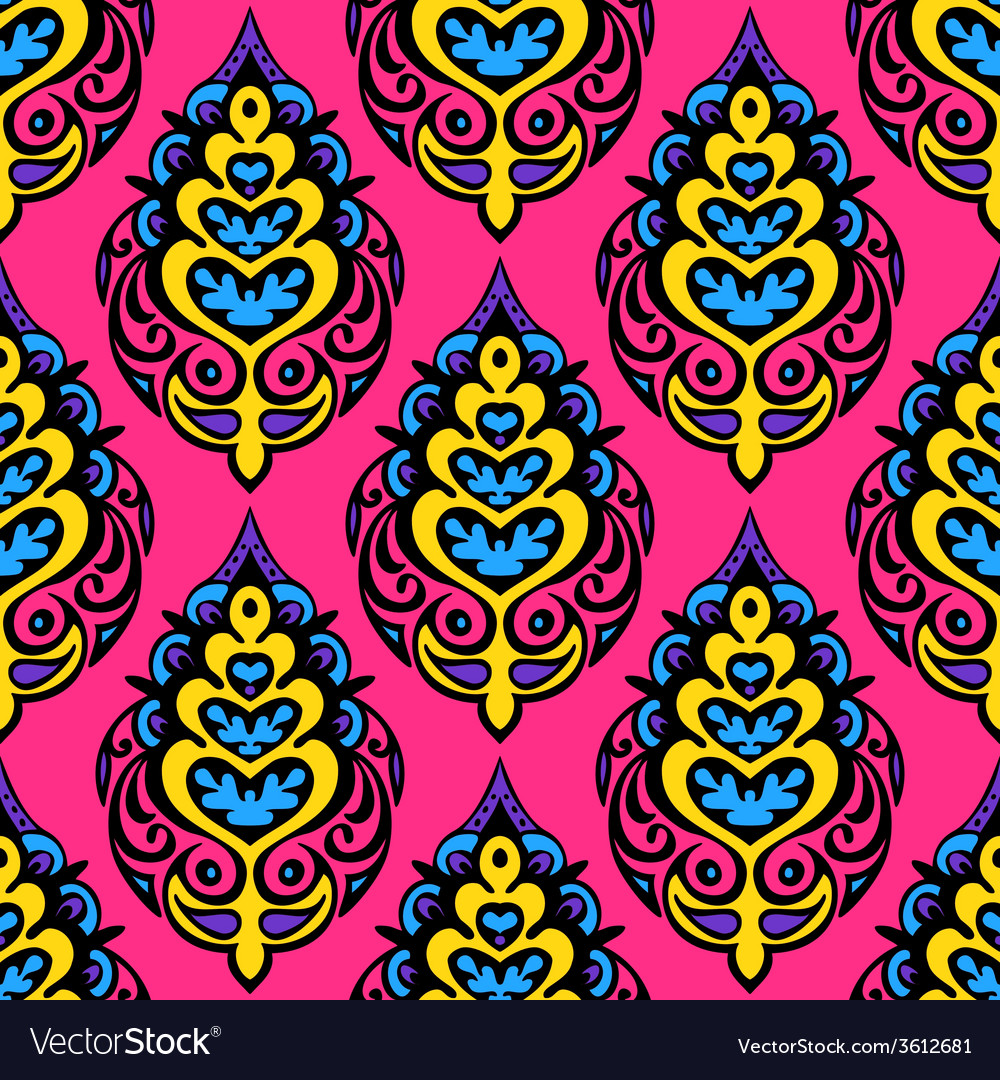 Pink colorful damask seamless floral design vector | Price: 1 Credit (USD $1)