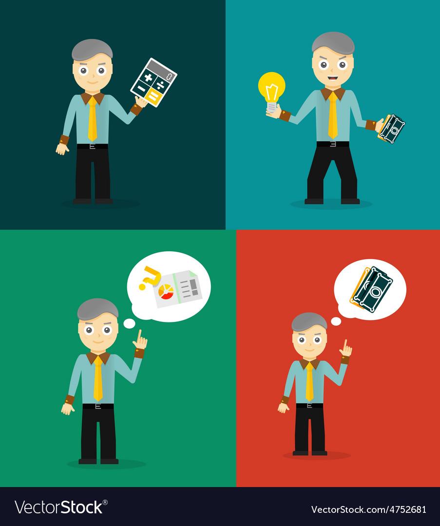 Set of cute cartoon young businessmen idea vector | Price: 1 Credit (USD $1)