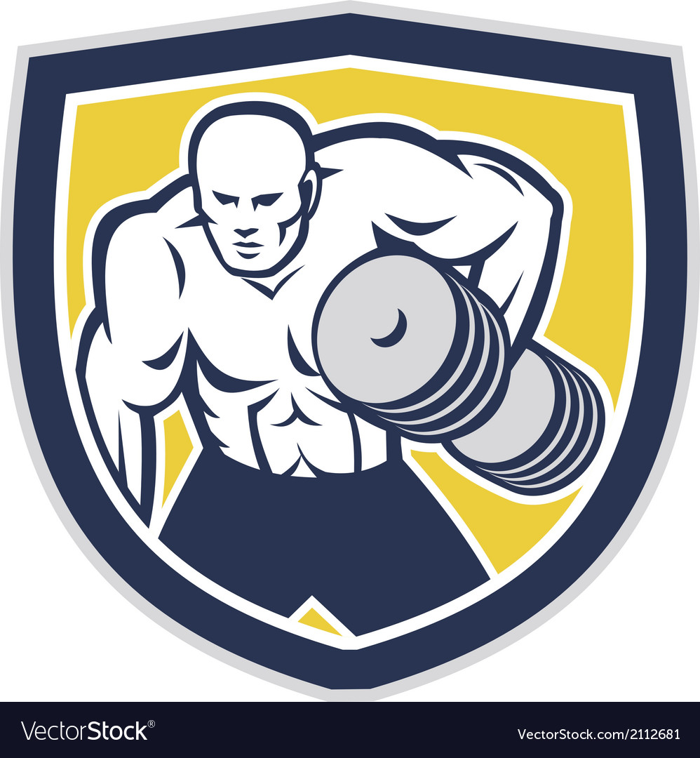 Strongman lifting dumbbells front shield retro vector | Price: 1 Credit (USD $1)