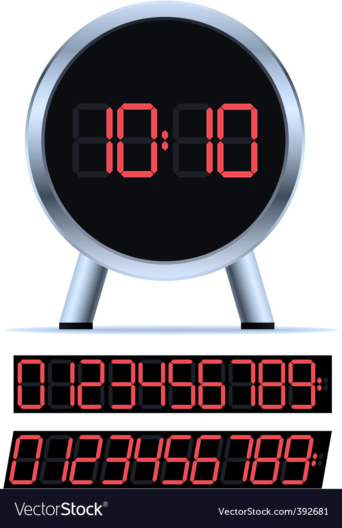 Stylish digital clock vector | Price: 1 Credit (USD $1)