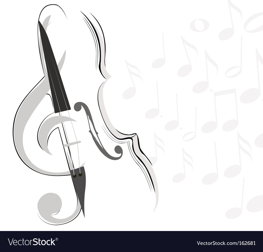 Violin and key lines vector | Price: 1 Credit (USD $1)
