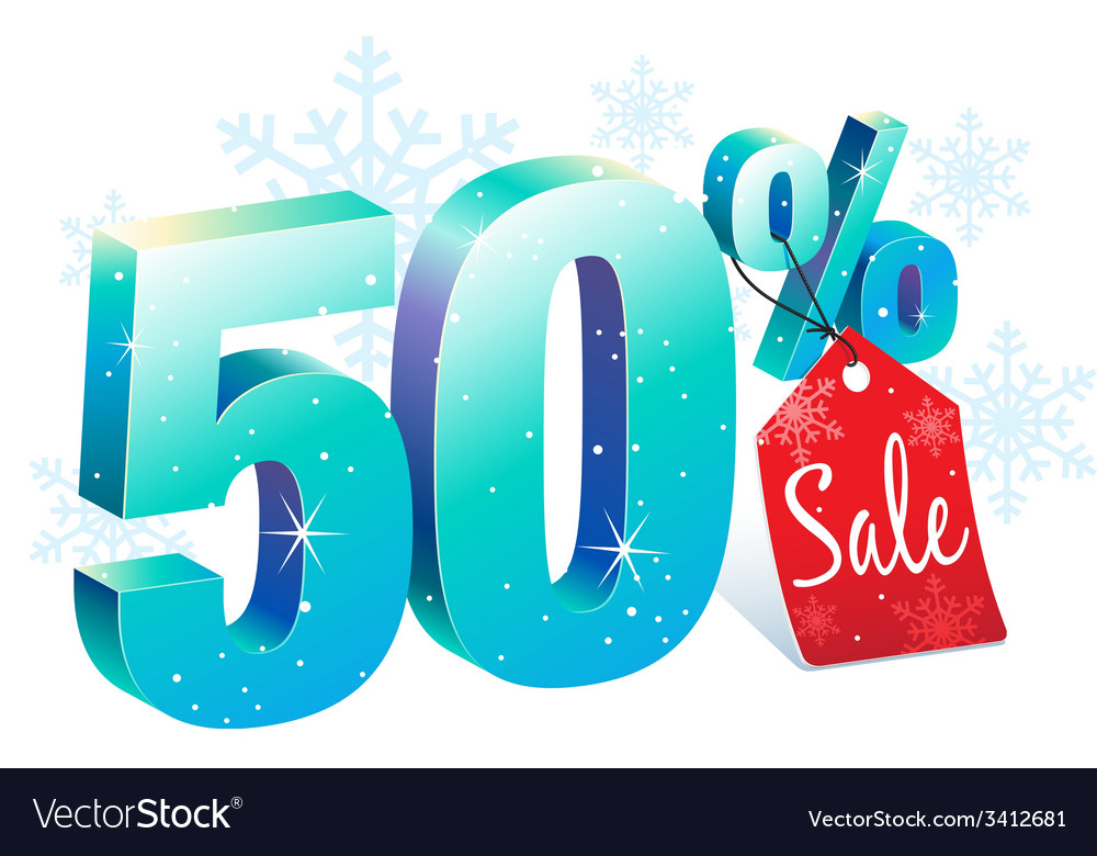Winter sale 50 percent off vector | Price: 1 Credit (USD $1)