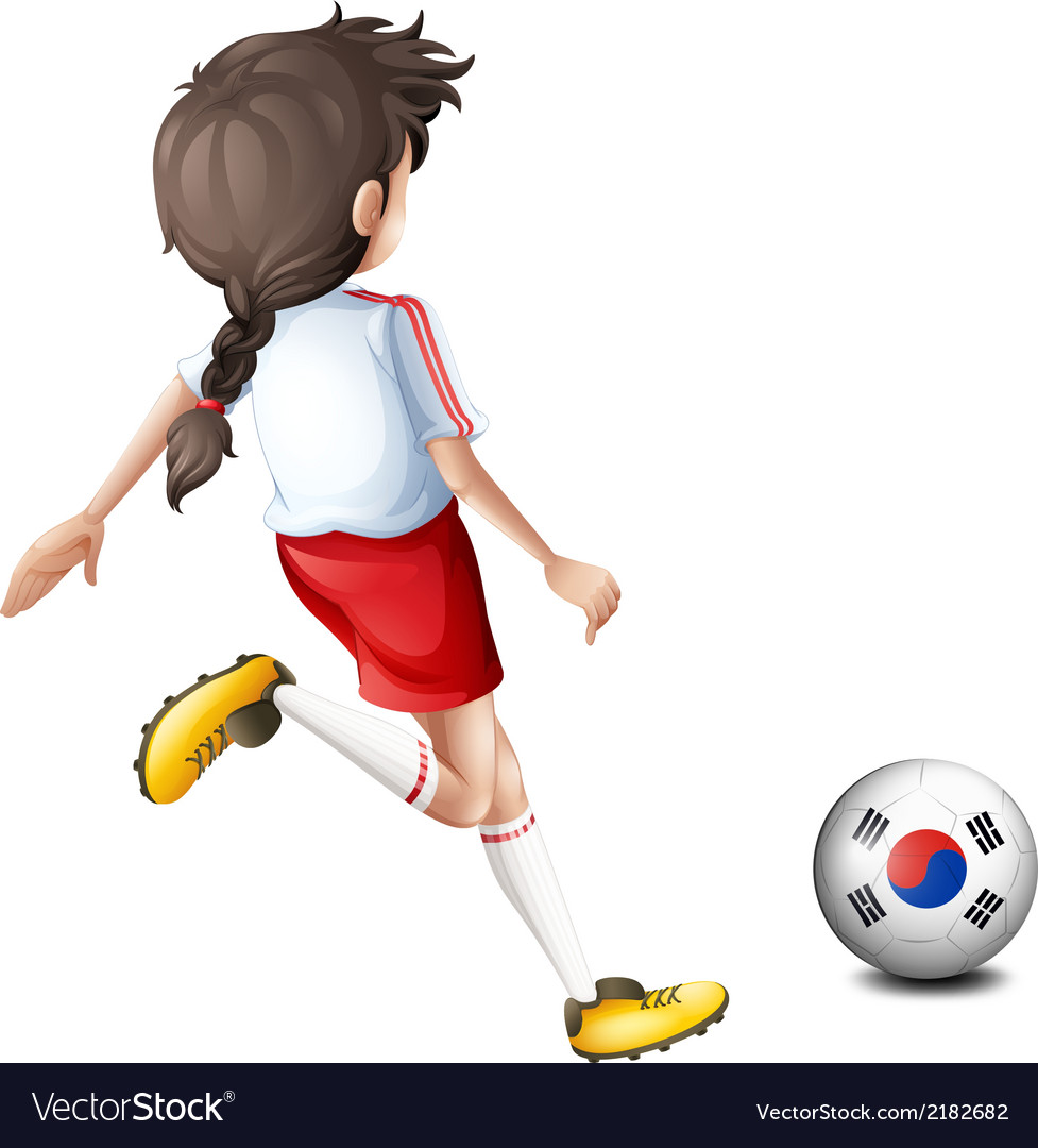 A girl kicking the ball with the south korean flag vector | Price: 1 Credit (USD $1)