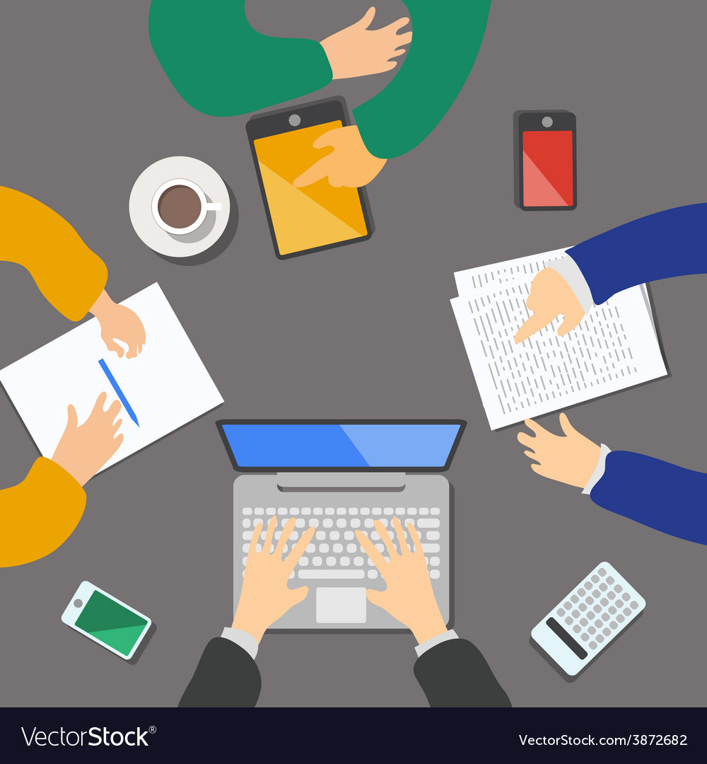 Business meeting concept top view people flat vector | Price: 1 Credit (USD $1)