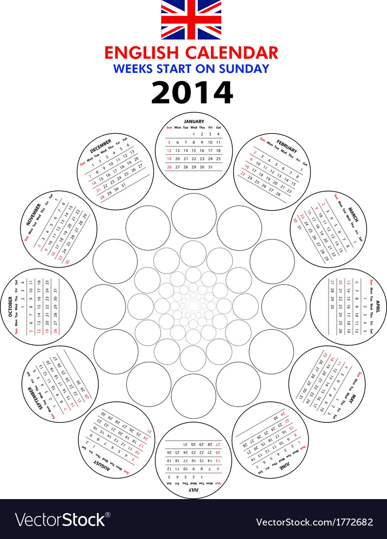 Calendar 2014 starts sunday vector | Price: 1 Credit (USD $1)
