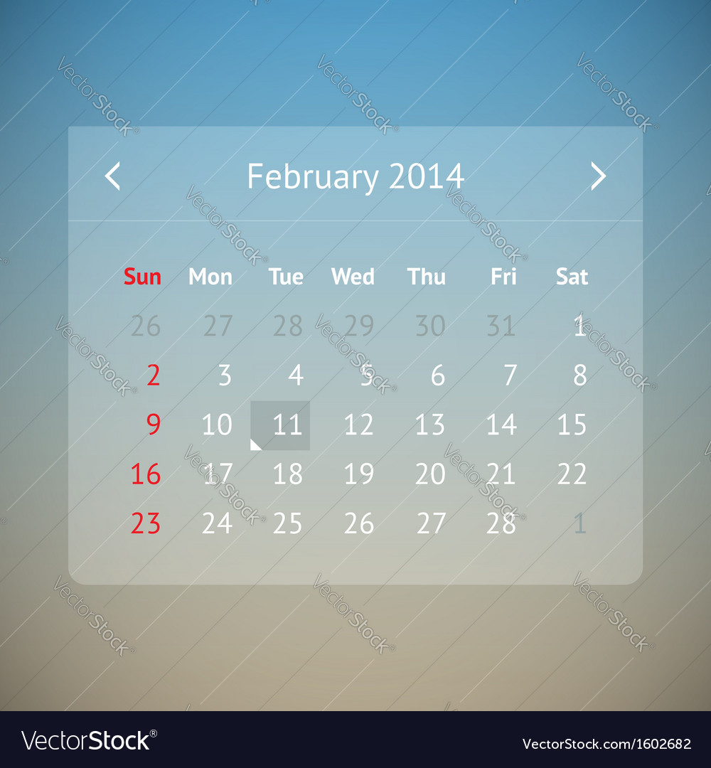 Calendar page for february 2014 vector | Price: 1 Credit (USD $1)