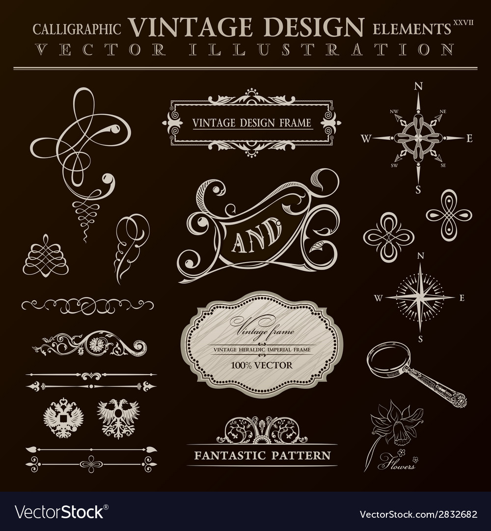 Calligraphic design elements vintage set ornament vector | Price: 1 Credit (USD $1)