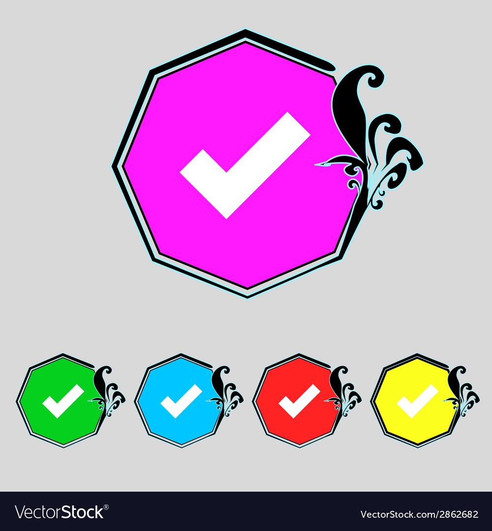 Check mark sign icon checkbox button set colourful vector   Price: 1 Credit (USD $1)