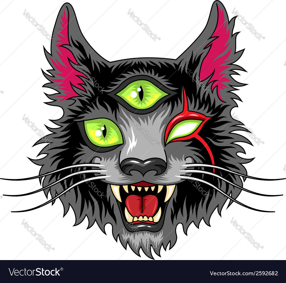 Devil cat black vector | Price: 3 Credit (USD $3)