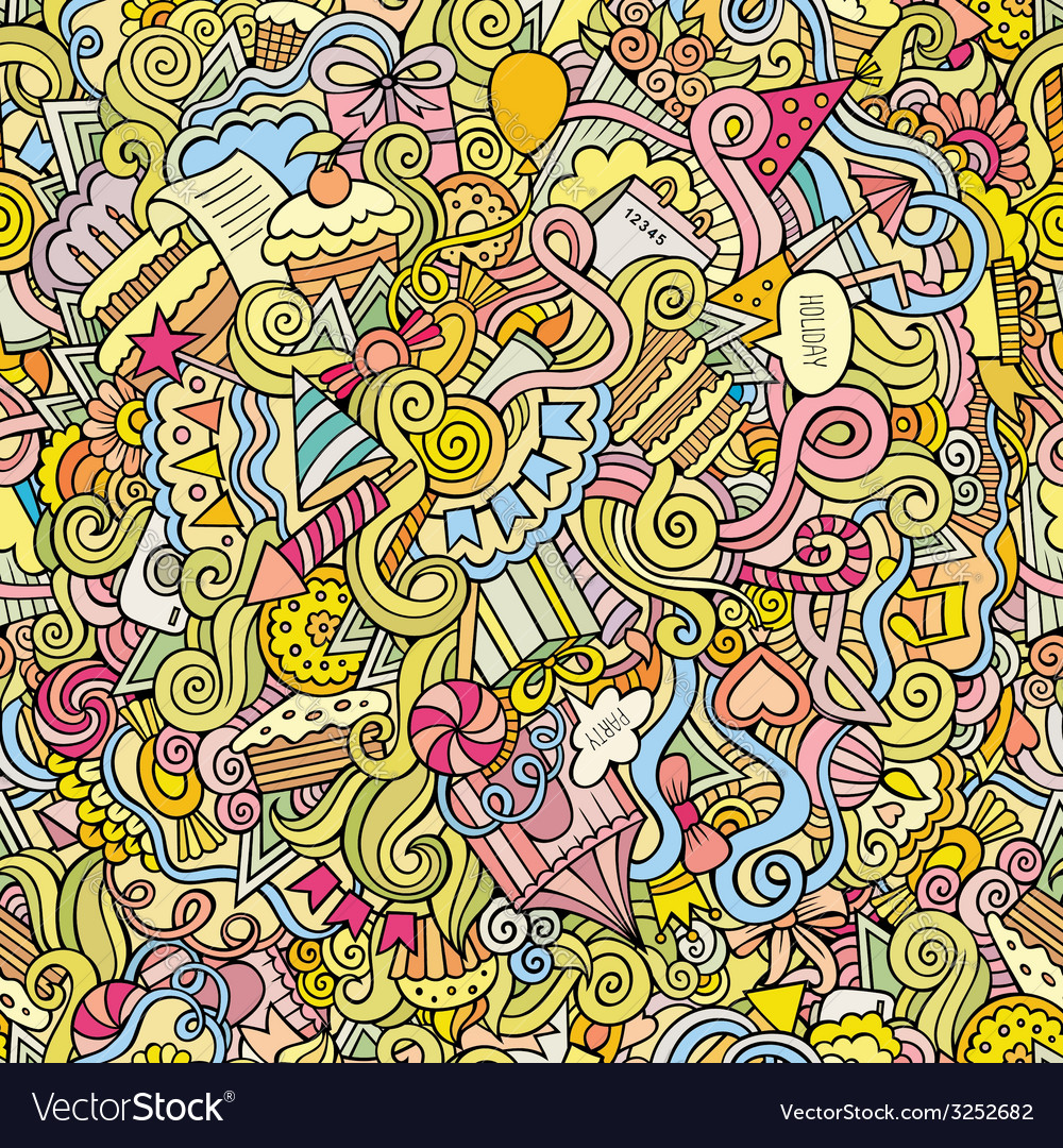 Doodles hand drawn holiday seamless pattern vector | Price: 1 Credit (USD $1)