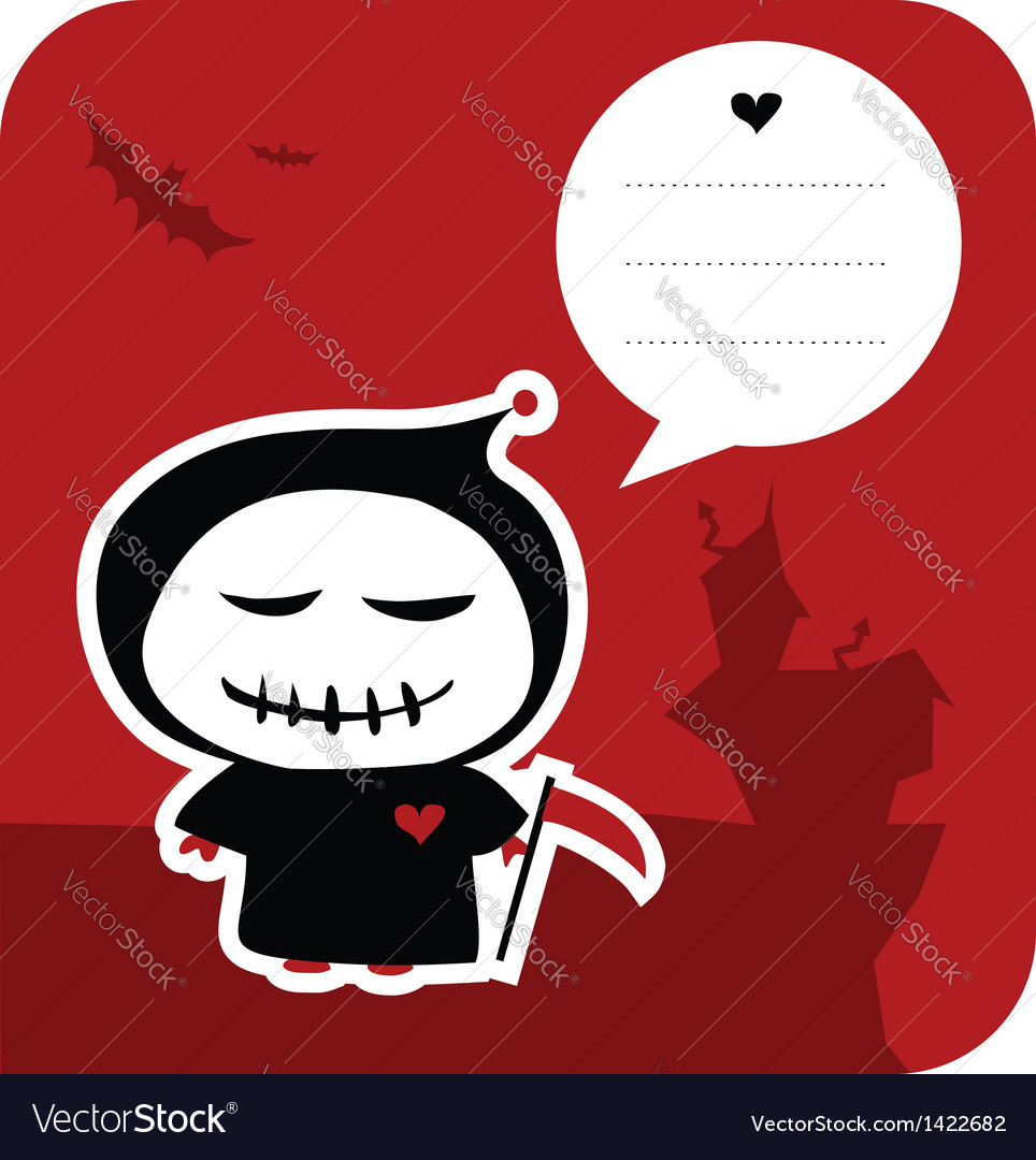 Funny grim reaper halloween greeting card vector | Price: 1 Credit (USD $1)