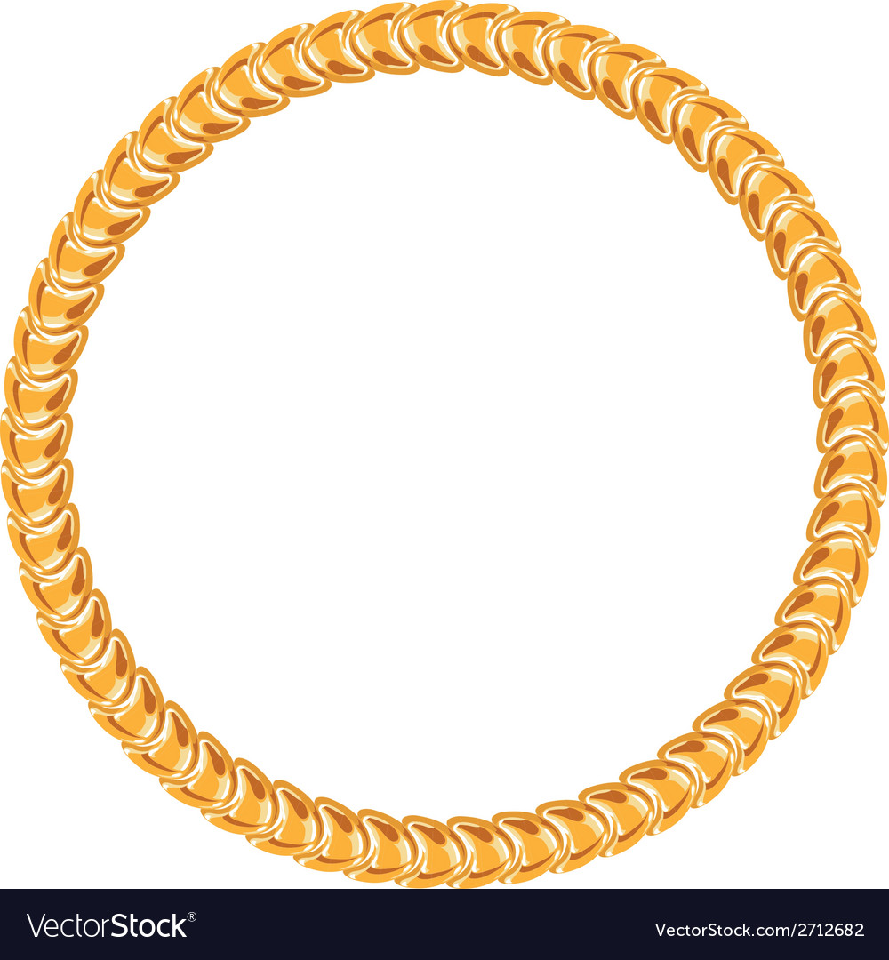 Golden chain - round frame on the white background vector | Price: 1 Credit (USD $1)