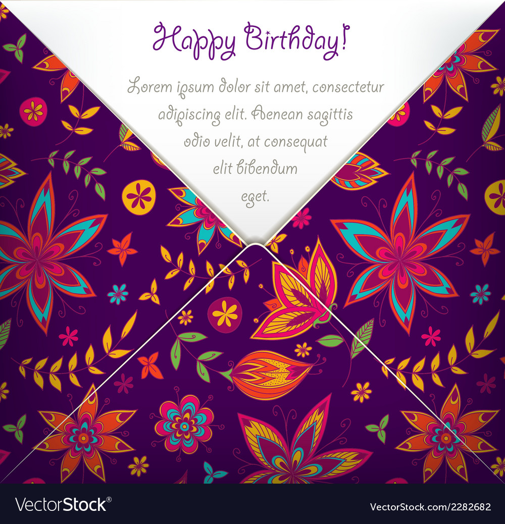 Happy birthday card with colorful floral pattern vector | Price: 1 Credit (USD $1)