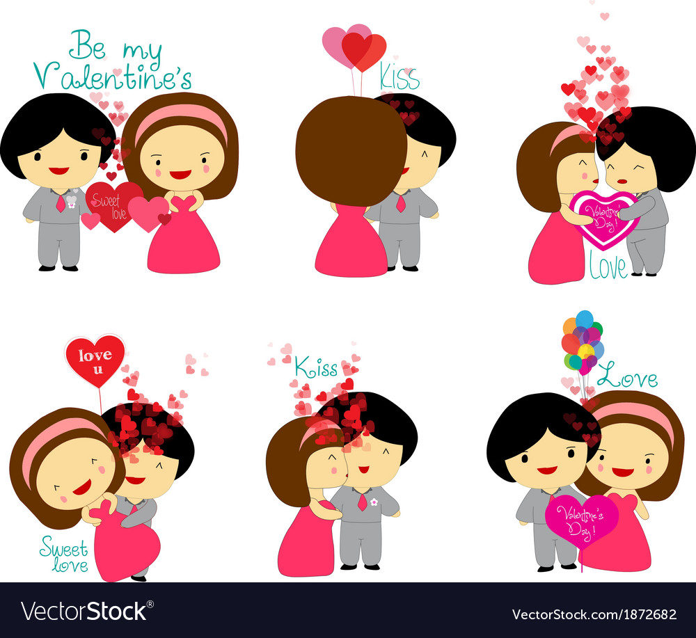 Happy valentines couple set vector | Price: 1 Credit (USD $1)