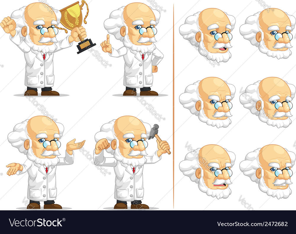 Scientist or professor customizable mascot 7 vector | Price: 1 Credit (USD $1)