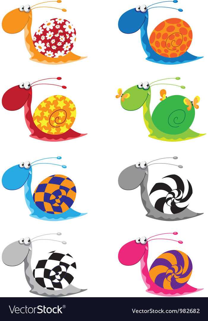 Snail funny set vector | Price: 1 Credit (USD $1)