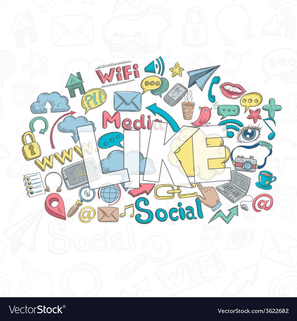 Social doodle like vector | Price: 1 Credit (USD $1)